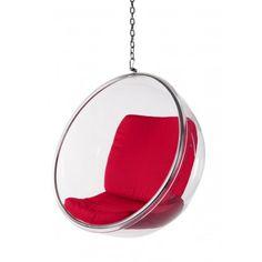 Fotel Bańka transparent/czerw poduszka Hanging Chair, Cool Stuff, Furniture, Home Decor, Hammock Chair, Decoration Home, Room Decor, Home Furnishings, Arredamento