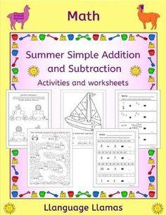 Summer Math - Simple Addition and Subtraction... by Llanguage Llamas | Teachers Pay Teachers
