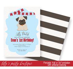 Pug Birthday Invitation Pug Invite Puppy Birthday Invite