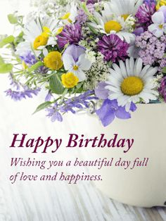 Send Free Happy Birthday Flower Cards to Loved Ones on Birthday & Greeting Cards by Davia. It's free, and you also can use your own customized birthday calendar and birthday reminders. Free Birthday Greeting Cards, Free Birthday Greetings, Happy Birthday Flowers Wishes, Birthday Wishes Messages, Birthday Wishes And Images, Birthday Blessings, Happy Birthday Pictures, Card Birthday, Birthday Ideas