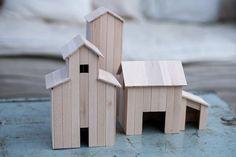 Decorative houses made of wood sticks