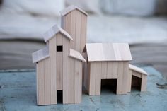 Decorative houses made of wood sticks