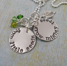 Hand Stamped Necklace - From Little Seeds - Sterling Silver Charm Necklace - Teacher Necklace