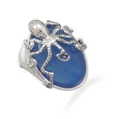 Fashion Octopus Ring with Blue Agate Stone *** Click image for more details.-It is an affiliate link to Amazon. #Rings