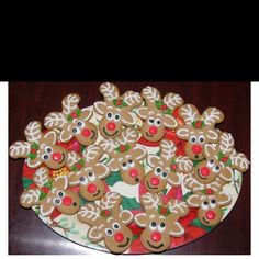 Upside down gingerbread men to reindeer!
