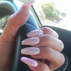 <b>Coffin</b> Shape Pink <b>Nails</b> With Glitter Cascade And Accent <b>Nail</b>