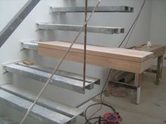 """Another """"prototype"""" developed for a perfect finish of the stairs construction(Wooden Cover Steps on the Metal Stairs Construction Design). Wooden steps on the metal stairs to access the attic in this situation and a great idea for any other place. Cantilever Stairs, Stair Handrail, Railings, Interior Stairs, Interior Architecture, Interior Ideas, Steel Stairs, Stair Detail, Floating Staircase"""