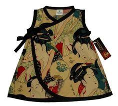 Geisha Kimono – Japanese Clothing – Baby Dress – Punk Baby Dress – Asian Baby Clothes – Baby Wrap – Girl Dress Size nb 6m 12m 18m