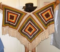 Crochet hand knit poncho cape shawl top multi by THEHIPPIEGYPSYVTG, $99.00