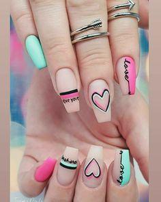 Valentine's Day Nail Designs, Cute Acrylic Nail Designs, Art Designs, Summer Acrylic Nails, Best Acrylic Nails, Trendy Nail Art, Stylish Nails, Latest Nail Art, Work Nails