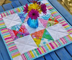 Mini quilt trio - quick and easy project and could probably use the mini charms for this.