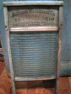 "Vintage Antique?  24"" x 13"" NATIONAL WASHBOARD Atlantic No. 510 Wood / Glass OLD"
