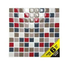 Smart Tiles 9.85 in. x 9.85 in. Multi-colored Mocha Mosaic Adhesive Decorative Wall Tile (6-Pack)-SM1006-6 at The Home Depot