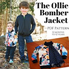 The Ollie Bomber Jacket is a PDF sewing pattern in sizes 12 month to 12 years. This jacket is intended for sturdy knits such as French terry, Liverpool, and sweatshirt fleece. You have the option of making it fully lined and reversible with welt pockets, or for a quick sew there are also instructions on how to leave it unlined. It's perfect for boys and girls!