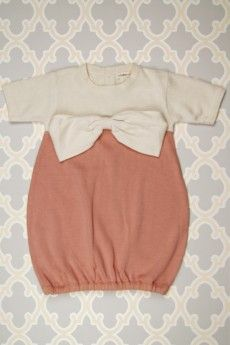 Plum Bunny SS Sweater Bow Dress | Coral Pink