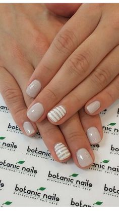 neutral nails with accent - neutral nails . neutral nails with sparkle . neutral nails with accent . neutral nails for pale skin . Short Nail Designs, Gel Nail Designs, Striped Nail Designs, Neutral Nail Designs, Nails Design, Simple Nail Designs, Pedicure Designs, Design Design, Design Ideas