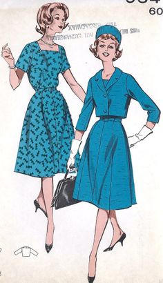 1960s Dress and Jacket Vintage Sewing Pattern, Square Neckline, Flared Skirt, Mad Men, Simplicity 9541