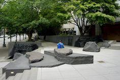 Garden of Remembrance Landscape Stairs, Landscape Art, Landscape Architecture, Landscape Design, Garden Design, Japanese Park, Gardens Of Stone, Zen Place, Plaza Design