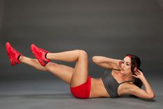 WWE Bella Twins Show SELF Their Secret Move: The Bicycle Crunch. Lie on your back on a mat w knees bent, feet on the floor, and hands behind your head (don't clasp your fingers). Press lower back into mat, tighten ab muscles as you lift head, shoulders, and upper back off the floor and simultaneously move your right elbow and left knee toward each other while straightening your right leg (don't let it touch the ground).  #SelfMagazine