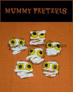 mummy pretzels for halloween