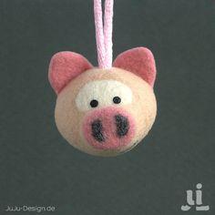 Schlüsselanhänger - HapDich - Schweinchen - ein Designerstück von JuLi bei DaWanda