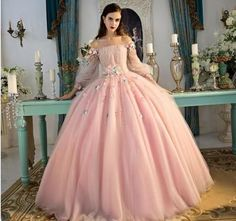Graceful Pink Ball Gown Prom Dresses Long Sleeve Lace Appliques Lace-up Special Occasion Dresses Sweet Design Evening Dresses Floral Prom Dresses, Princess Prom Dresses, Prom Dresses Long With Sleeves, Quince Dresses, Cheap Prom Dresses, Formal Evening Dresses, Flower Dresses, Dress Long, Long Dress Formal