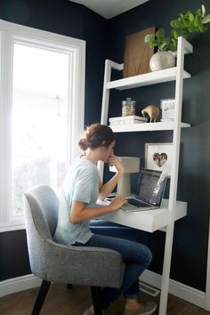 Create a stylish, productive little nook, even when space is tight, with our chic, modern home office ideas for small spaces from @chrislovesjulia.