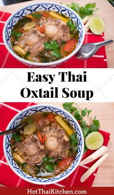 easy Thai oxtail soup recipe is healthy and so comforting! The perfect winter or fall dish and the ultimate comfort food.This easy Thai oxtail soup recipe is healthy and so comforting! The perfect winter or fall dish and the ultimate comfort food. Hot Pot, Thai Recipes, Asian Recipes, Curry Recipes, Korean Soup Recipes, Asian Foods, Dinner Recipes, Thai Cooking, Cooking Recipes