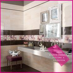 Collezione AQUA #abkemozioni #wall Avorio chiaro, Cannella medio, Visone scuro, decoro Primavera. #ceramica #ceramics #design #tile #decor #bathroom