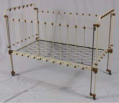 Victorian Antique Iron bed Baby Crib orig paint