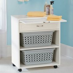 Open Utility Cabinet adds versatility to a laundry area, craft room, or kitchen.