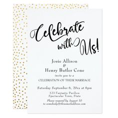 Wedding Day Celebrate with Us Wedding Reception Gold Confetti Invitation - invitations custom unique diy personalize occasions - Shop Celebrate with Us Wedding Reception Gold Confetti Invitation created by PaperMuserie. Personalize it with photos Wedding Reception Invitations, Wedding Stationary, Invites, Wedding Favors, Wedding Decorations, Invitation Text, Anniversary Invitations, Casual Wedding Reception, Wedding Receptions
