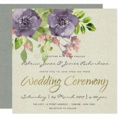 RUSTIC VIOLET PINK WILD FLOWERS & FOLIAGE WEDDING CARD - click to get yours right now! #wedding #invitation #weddingideas #weddinginspiration  #flower #floral #botanical #garden #outdoor #nature #romantic #editable