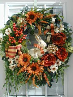 Spring Summer Easter Burnt Orange Cream Sisal Rabbit Berries Large Elegant Decoration Door Wreath