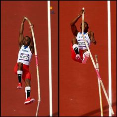 """Men's Pole Vault (France): Cuba's Lazaro Borges says, """"OH SNAP"""", as his pole breaks in two. (Image Source: Quinn Rooney/Getty Images) #London2012"""
