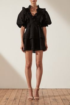 #shonajoy #fashion #ackleycottonlacepuffsleevemini