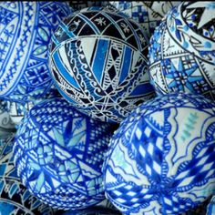 Elaborate decorated easter eggs of Old World Hungary.