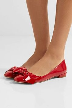 Miu Miu - Bow-embellished Patent-leather Ballet Flats - Red - IT39.5