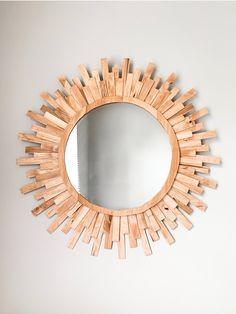 Diy Popsicle Stick Crafts, Popsicle Sticks, Wood Stick Decor, Dollar Tree Mirrors, Mirror Crafts, Macrame Mirror, Sunburst Mirror, Diy Frame, Diy Mirror With Lights