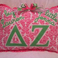 Delta Zeta Little and  Big Sister Greek Letter Pillow by MamaBern
