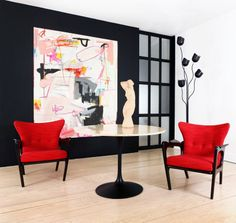 ADRIAN PEARSOLL 1950's Arm Chairs, Ebony Finished Wood frame, Upholstered in Crimson KNOLL fabric Find it at FRG Objects & Design Gallery, Hudson NY