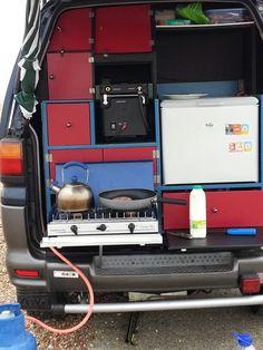 Breakfast from my Delica Mini Camper, Camper Van, Mitsubishi Space, Van Dwelling, Cool Vans, Van Interior, Camping Glamping, Caravans, Van Life
