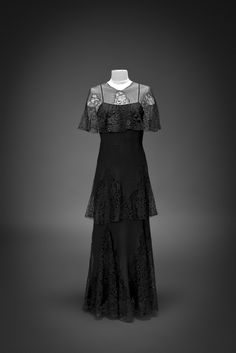 Evening cape and dress, 1930.