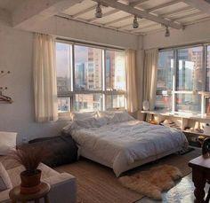 Room Ideas Bedroom, Bedroom Decor, City Bedroom, Dream Apartment, Studio Apartment, Aesthetic Room Decor, Cozy Room, Dream Home Design, House Design