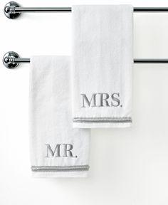 """Avanti Bath Towels, Mr. & Mrs. 16"""" x 30"""" Hand Towel"""