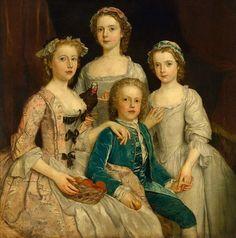 1747 Stephen Slaughter - Portrait of Sir Edward Walpole's Children 18th Century Dress, 18th Century Clothing, 18th Century Fashion, Mode Renaissance, Old Paintings, Historical Clothing, Historical Dress, Portrait Art, Fashion History