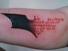she-behaves-like-shes-on-fire: chaotic-genius: jkimisyellow: bridgemcgidge: tan-the-man: Wow now THAT is a cool batman tattoo HOT DAMN (funfact: in russia the letter for 'N' is actually 'H' (so you read 'HAHAHA' but russians read 'NANANA')) NO Batman Joker Tattoo, Batman Symbol Tattoos, Bat Symbol, Joker Tattoos, Joker Batman, Joker Symbol, Bat Joker, Batman Sign, Piercing Tattoo