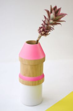wood and ceramic stacking vase