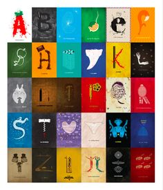 Entire collection of Indie Movie Alphabet Posters. Can you identify them all without peeking?