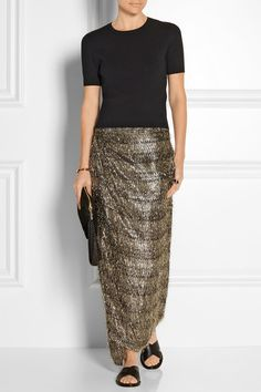 Gold and silver Lurex, black chiffon Concealed hook and snap fastenings at front 44% viscose, 31% silk, 25% Lurex Dry clean Designer color: Spark